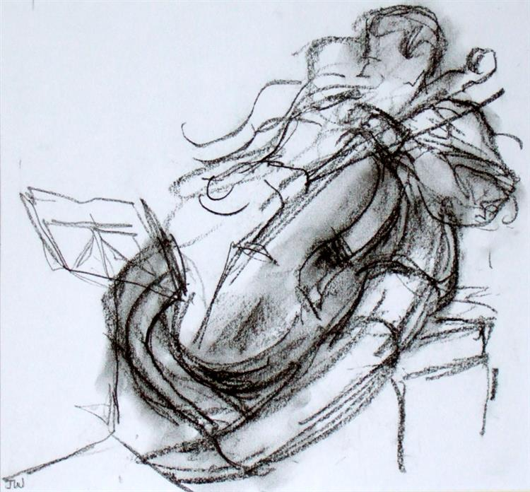 Doric cellist, charcoal SOLD donated to Wigmore Hall by owners