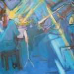 Ensemble 360 perform Brahms quintet, acrylic on canvas 60x40cm