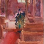 Double Bass before performance, Kenilworth Church, w/colour 18x28cm SOLD