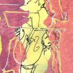 Pink cellist, collage/ink SOLD