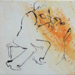 Violinist off his seat, acrylic ink on canvas,20x20cm SOLD