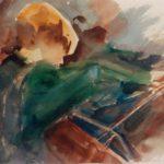 Boy Cellist, watercolour 35x30cm SOLD