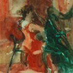 Musicians perform in Bankside Gallery, w/colour 15x20cm SOLD