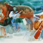 Coull Quartet play The Trout, watercolour 15x20cm.  Winner of Saunders Waterford Award RWS Open 1993 SOLD