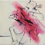 Doric Cellist, acrylic ink on canvas,20x20cm SOLD